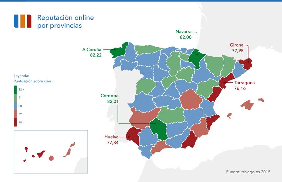 Mapa provincias reputación online