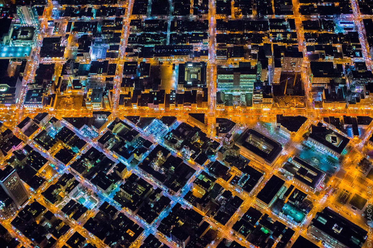 Estados Unidos – Fotografía nocturna de San Francisco desde el aire