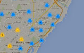 Mapa paradas taxi Barcelona