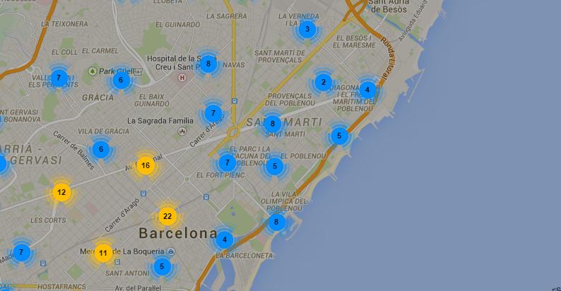 Barcelona – Mapa de las paradas oficiales de taxis