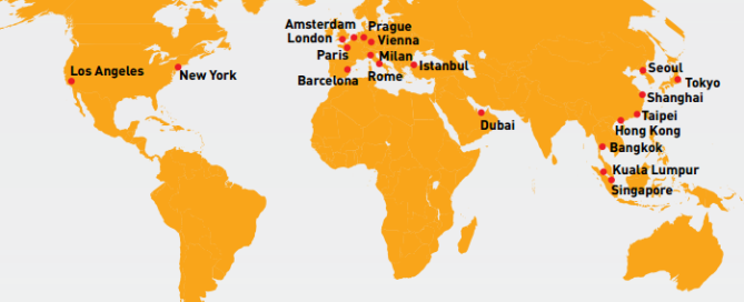 2015 Global Destination Cities Index map
