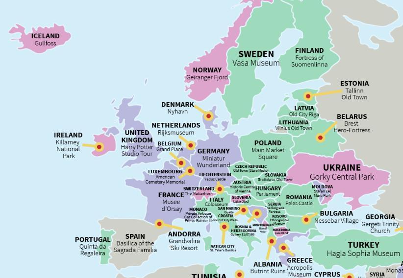 La atracción turística más visitada de cada país en el mundo