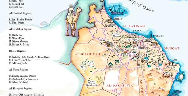 Todo el Sultanato de Omán en un precioso mapa ilustrado